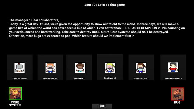 Une capture d'écran représentant le choix d'un personnage sur DevJam